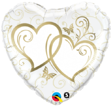 Entwined Hearts Gold Foil Helium Balloon